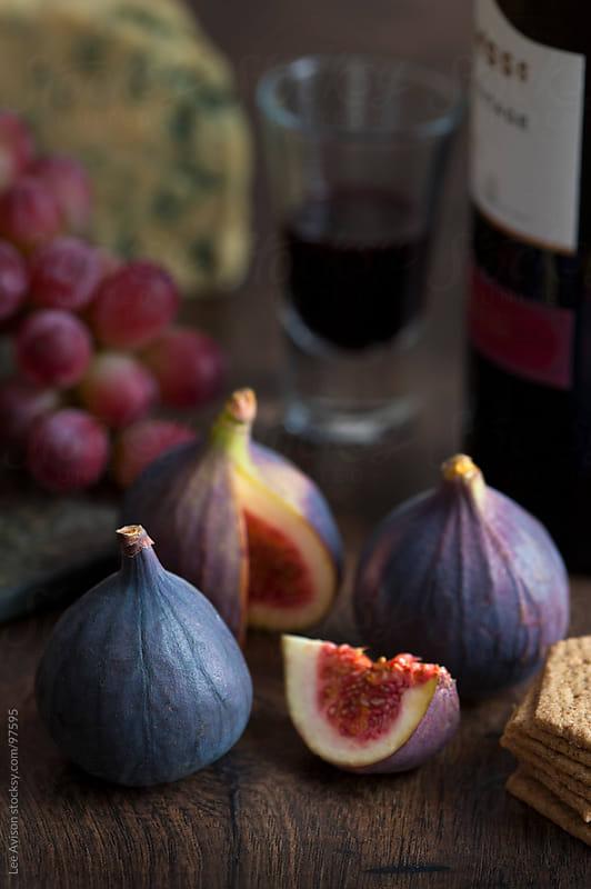 fresh figs, port, stilton and grapes  by Lee Avison for Stocksy United