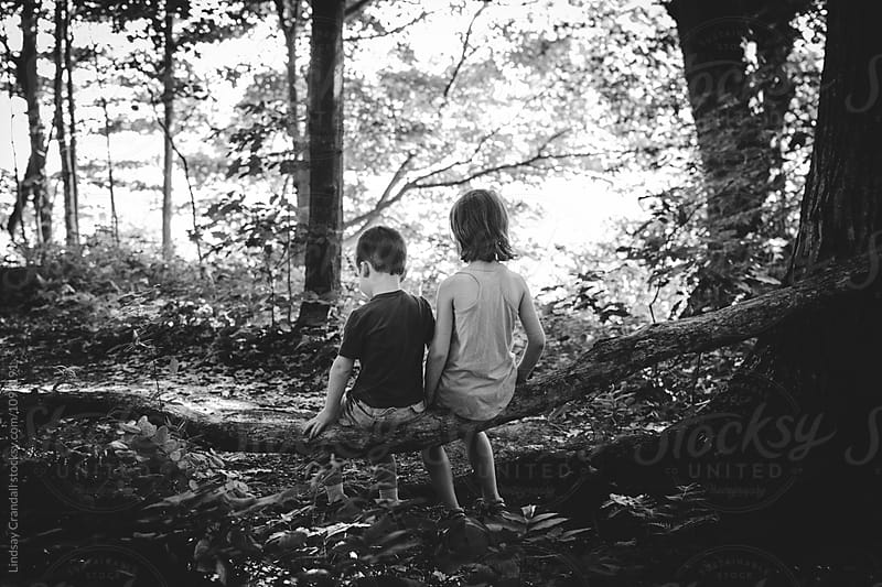Brother and sister sitting together on a log by Lindsay Crandall for Stocksy United