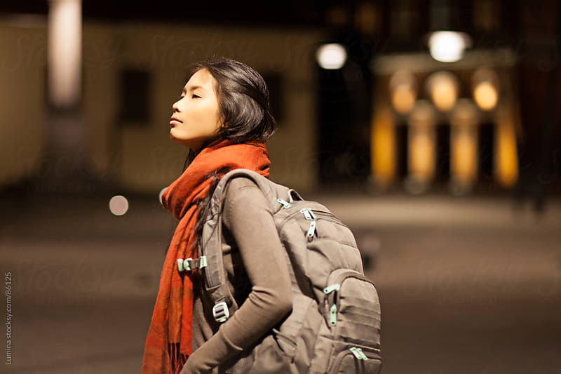 Asian Woman With a Backpack by Lumina for Stocksy United