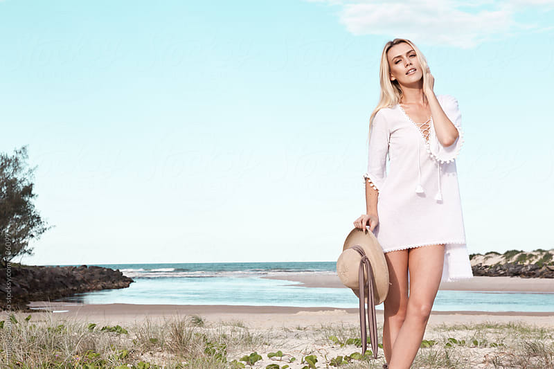 pretty model at the beach by Image Supply Co for Stocksy United