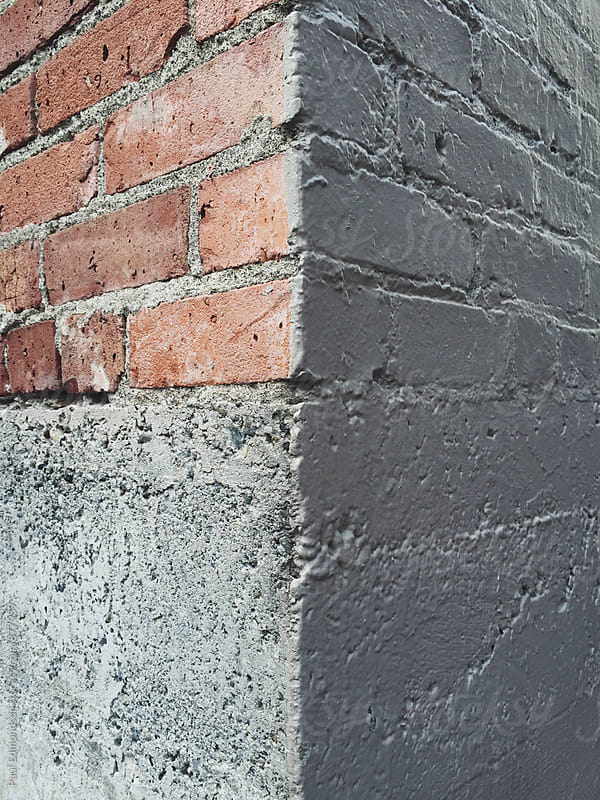 Close up of brick wall corner  by Paul Edmondson for Stocksy United