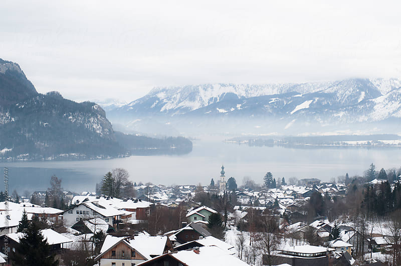 Winter landscape with a lake in austria  by Robert Kohlhuber for Stocksy United