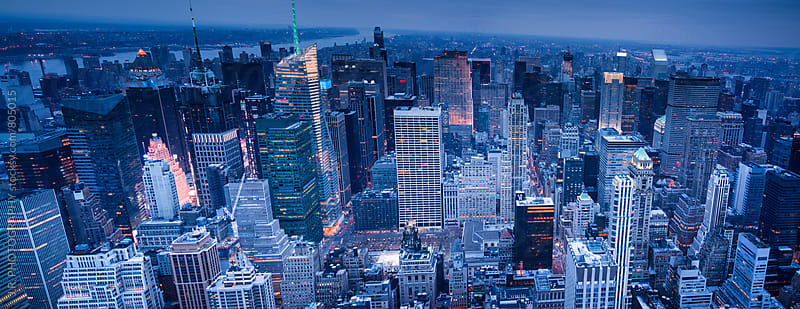 New York City skyline at dusk by J.R. PHOTOGRAPHY for Stocksy United