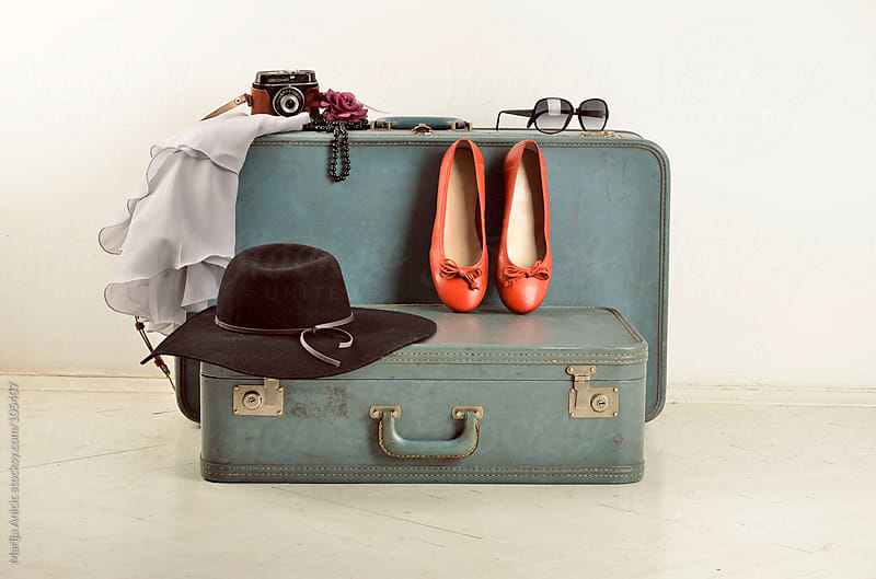 suitcase,flats,hat,camera and glasses by Marija Anicic for Stocksy United