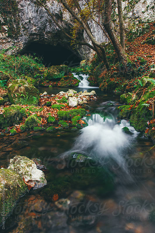Clear mountain creek in the autumn forest. Long exposure by Dimitrije Tanaskovic for Stocksy United
