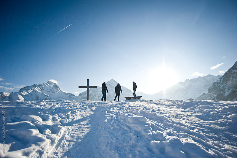 Three friends on the top of the Alps  by neongrounds for Stocksy United