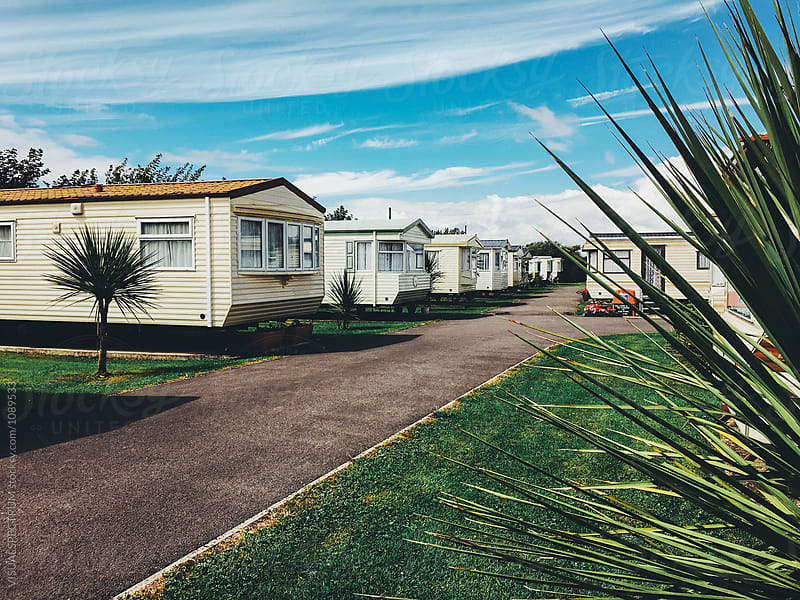 English Caravan Neighborhood on Sunny Summer Day by VISUALSPECTRUM for Stocksy United