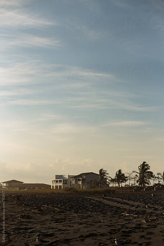 Distance shot of beautiful beach homes  by Eddie Pearson for Stocksy United