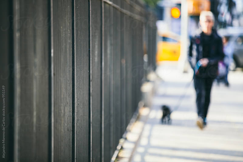 Black fence with unfocused pedestrian and dog  by Alejandro Moreno de Carlos for Stocksy United