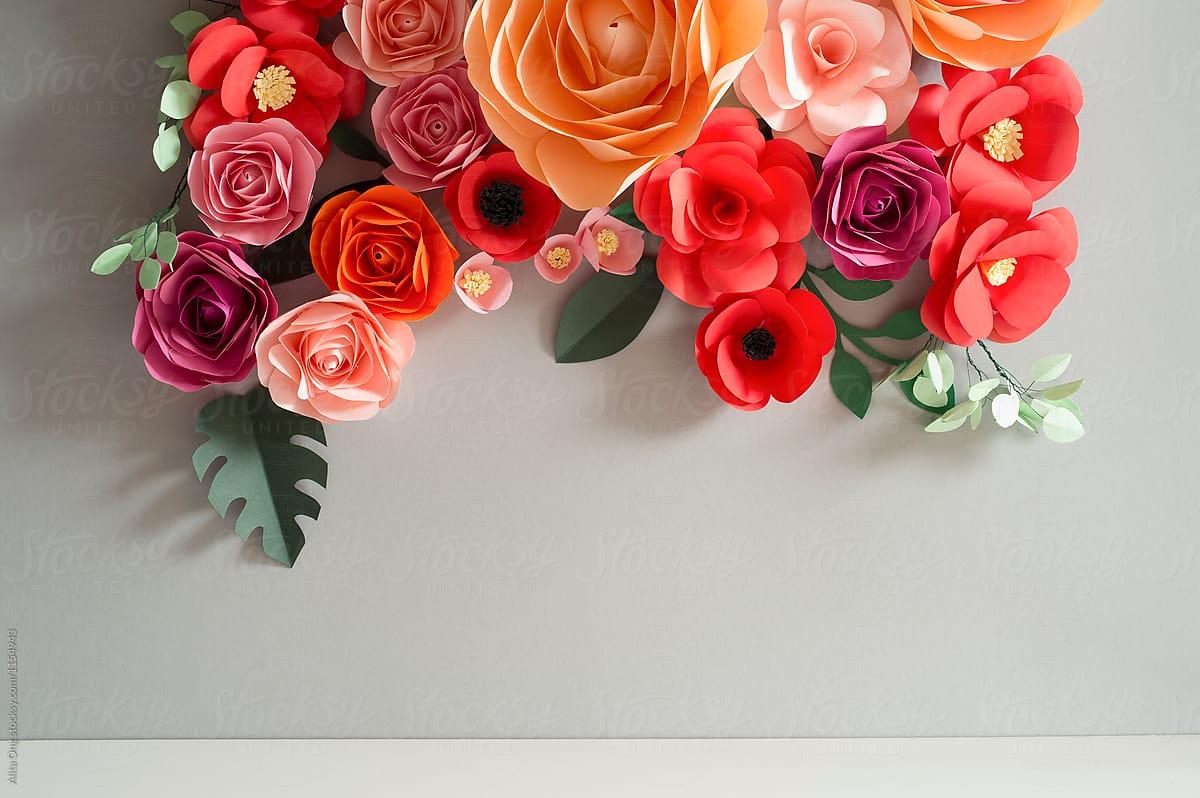 Paper Flowers Backdrop Stocksy United