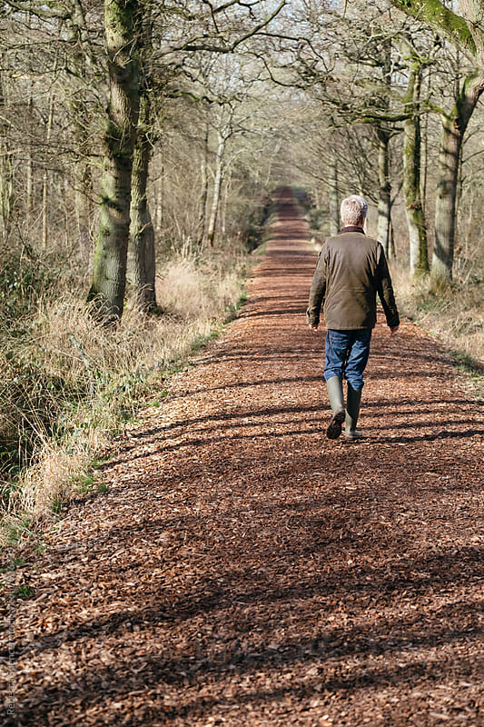 Man walking along a woodland path by Rebecca Spencer for Stocksy United