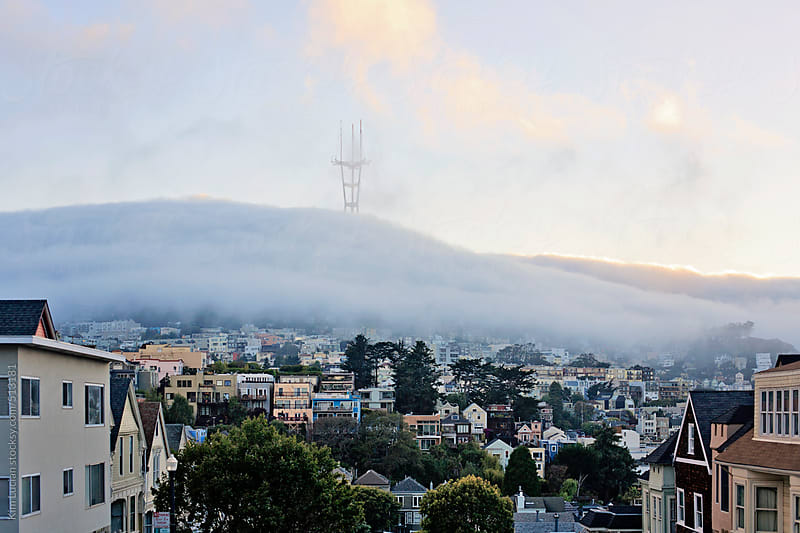 View of Fog over San Francisco at Sunset by Kim Lucian for Stocksy United