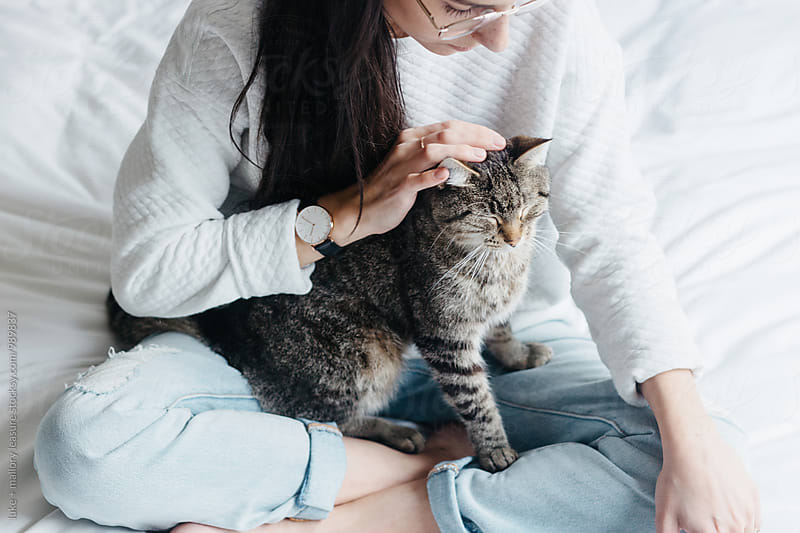 Girl with cute cat by luke + mallory leasure for Stocksy United