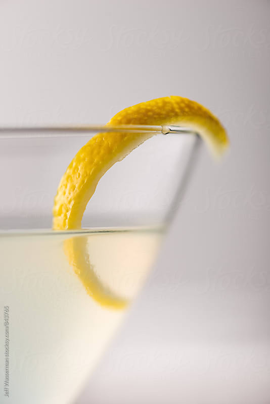 Lemon Cocktail with Twist Closeup by Jeff Wasserman for Stocksy United