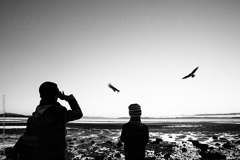 Young boys feeding the seagulls by the beach at sunset by Lawrence del Mundo for Stocksy United