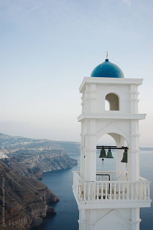 Bell tower in Santorini, Thira by Kirstin Mckee for Stocksy United