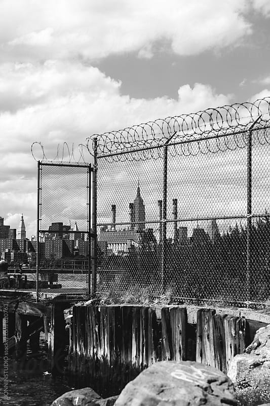 View of Manhattan from Brooklyn. Black and white. by BONNINSTUDIO for Stocksy United