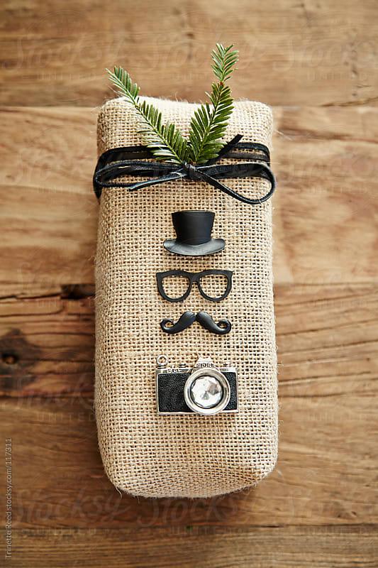 Hipster Christmas gift wrapped in burlap by Trinette Reed ...