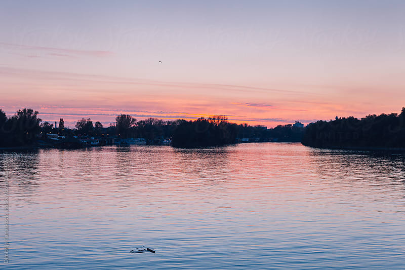 Beautiful sunset on the river by Dimitrije Tanaskovic for Stocksy United