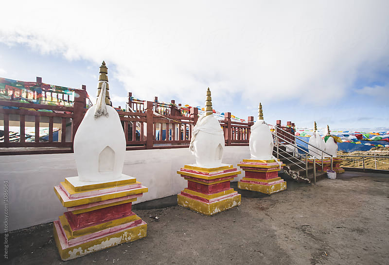 white pagoda in Tibet by zheng long for Stocksy United