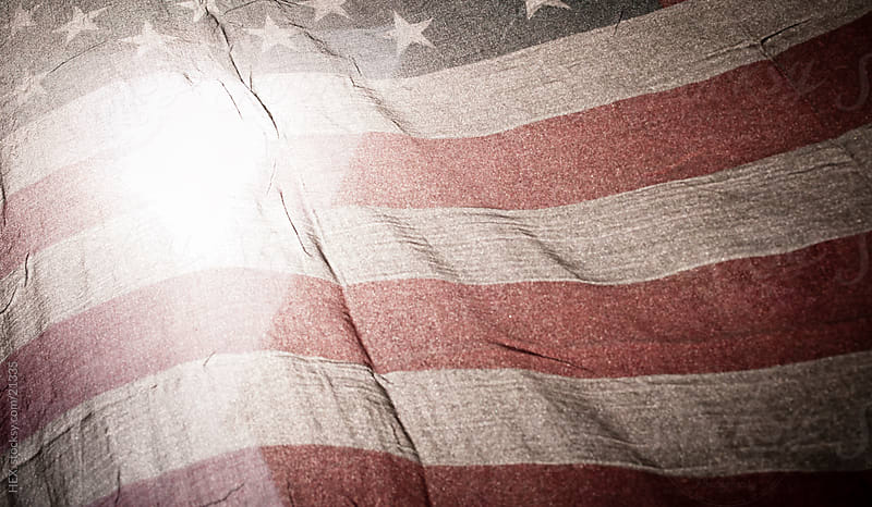 Grunge American Flag by HEX. for Stocksy United