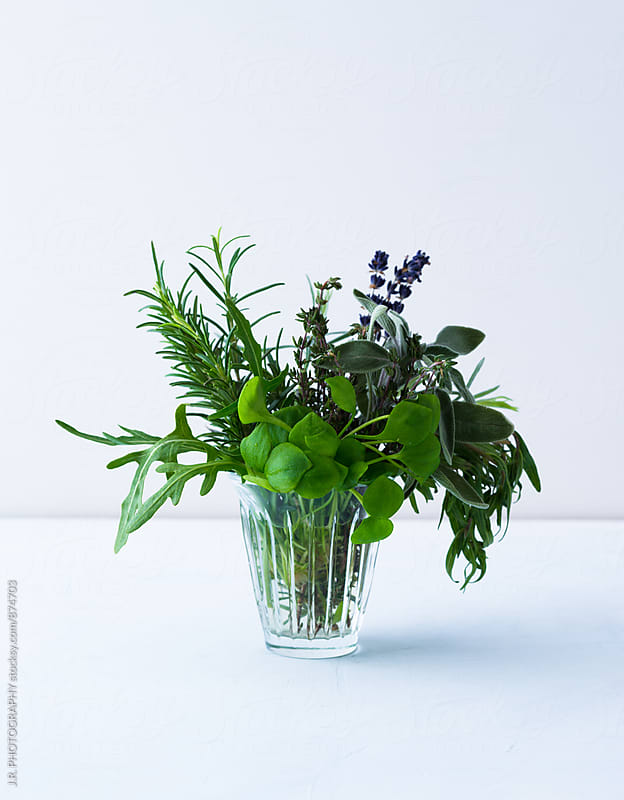 Bunch of herbs in a glass on white background by J.R. PHOTOGRAPHY for Stocksy United