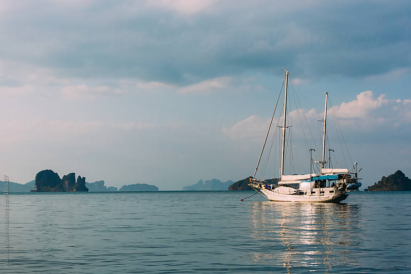 Sailboat on the Andaman Sea by michela ravasio for Stocksy United