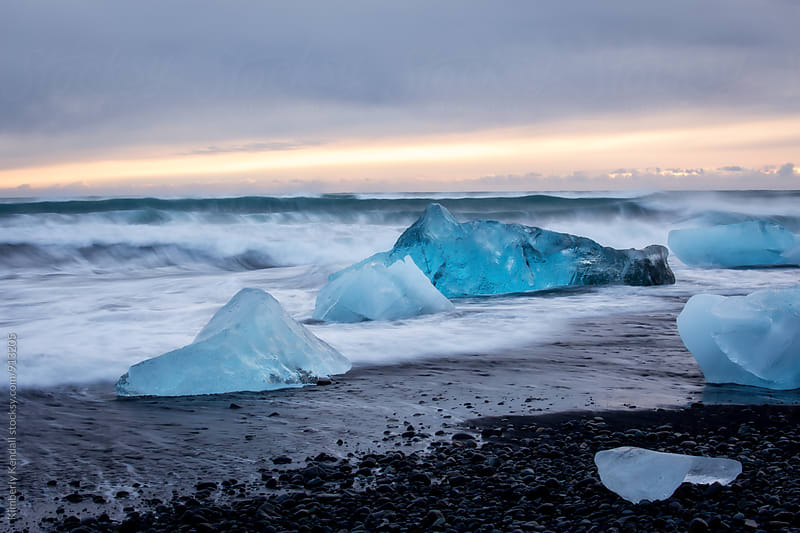 Icebergs on Jokulsarlon Beach by Kimberly Kendall for Stocksy United
