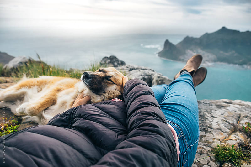 Hiker resting on a mountain summit with pet dog by Micky Wiswedel for Stocksy United