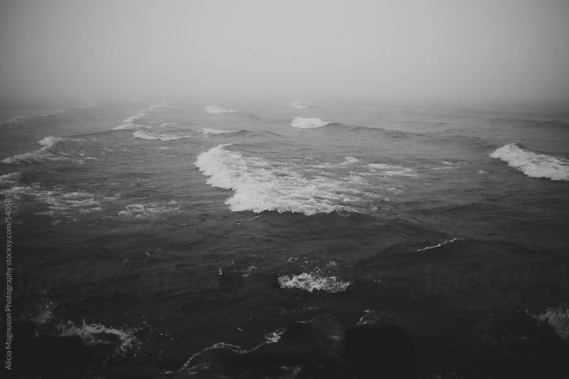 Lake Michigan Waves on a Foggy Day in Black and White by Alicia Magnuson Photography for Stocksy United