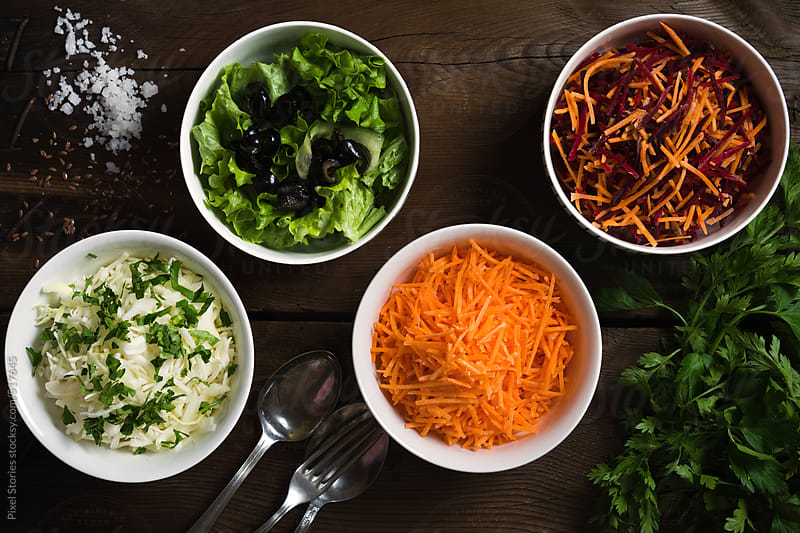 Food: healthy salads variety by Pixel Stories for Stocksy United