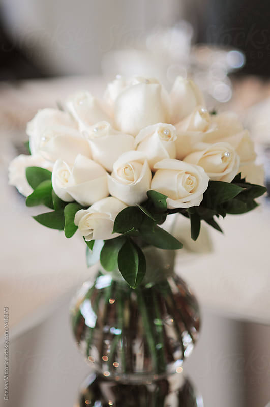 White Roses from a Wedding by Chelsea Victoria for Stocksy United