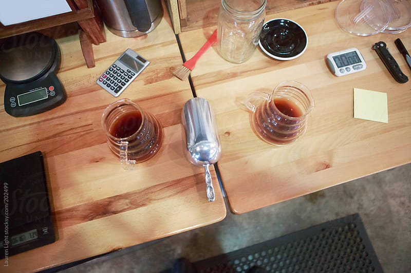 Precision brewing of gourmet coffee by Lauren Light for Stocksy United