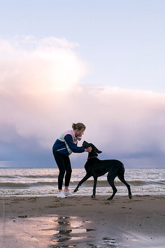 Woman playing with dog pet on morning beach by Danil Nevsky for Stocksy United