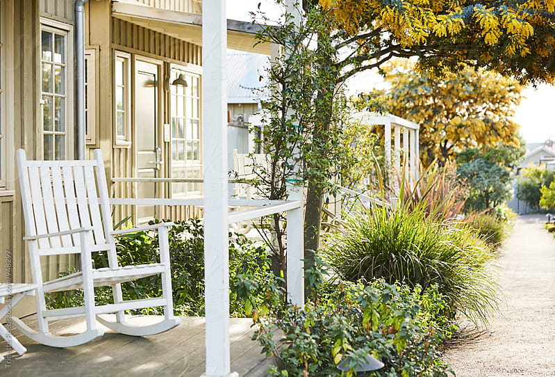 Garden Pathway in row of tiny home cottages by Trinette Reed for Stocksy United