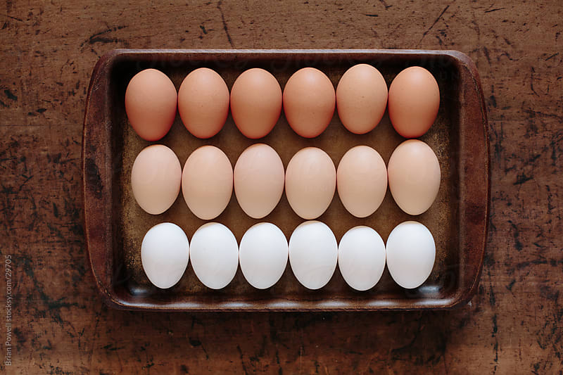 18 organic eggs in a tray by Brian Powell for Stocksy United
