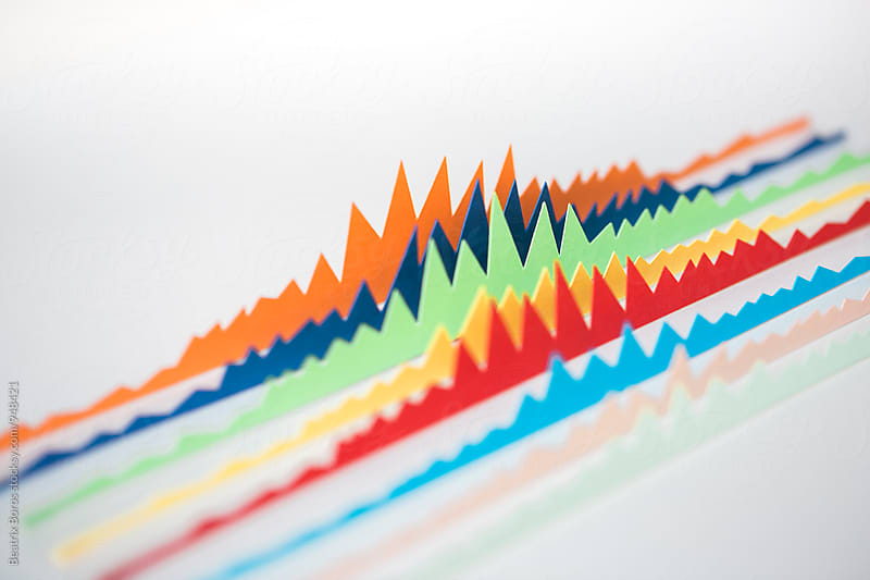 Colorful diagonal charts with copy space by Beatrix Boros for Stocksy United