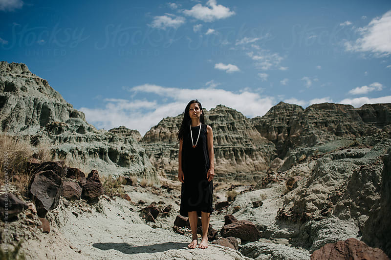 Girl in Blue Desert by luke + mallory leasure for Stocksy United