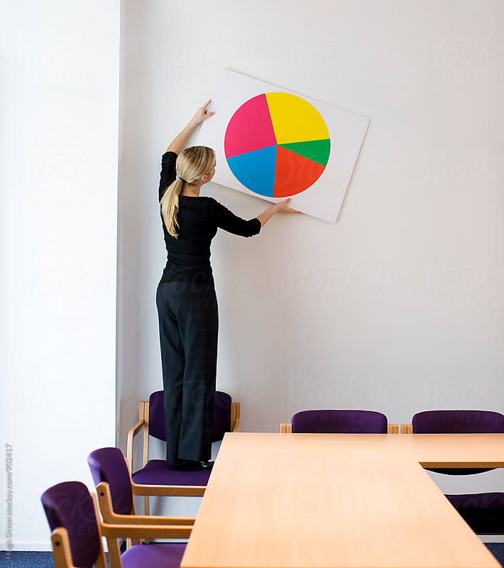 Businesswoman putting pie chart on wall. by Hugh Sitton for Stocksy United
