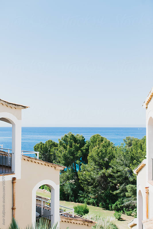 View of ocean from resort in Majorca by Amir Kaljikovic for Stocksy United