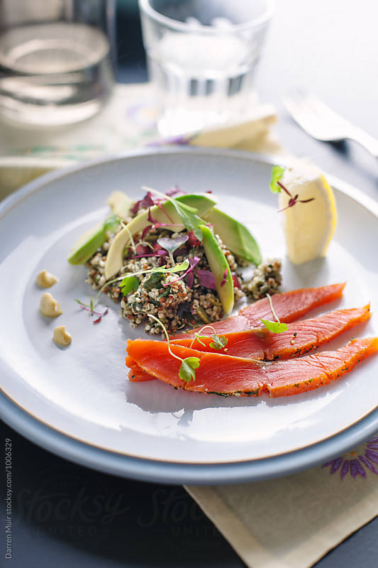 Salmon,quinoa and avocado salad. by Darren Muir for Stocksy United