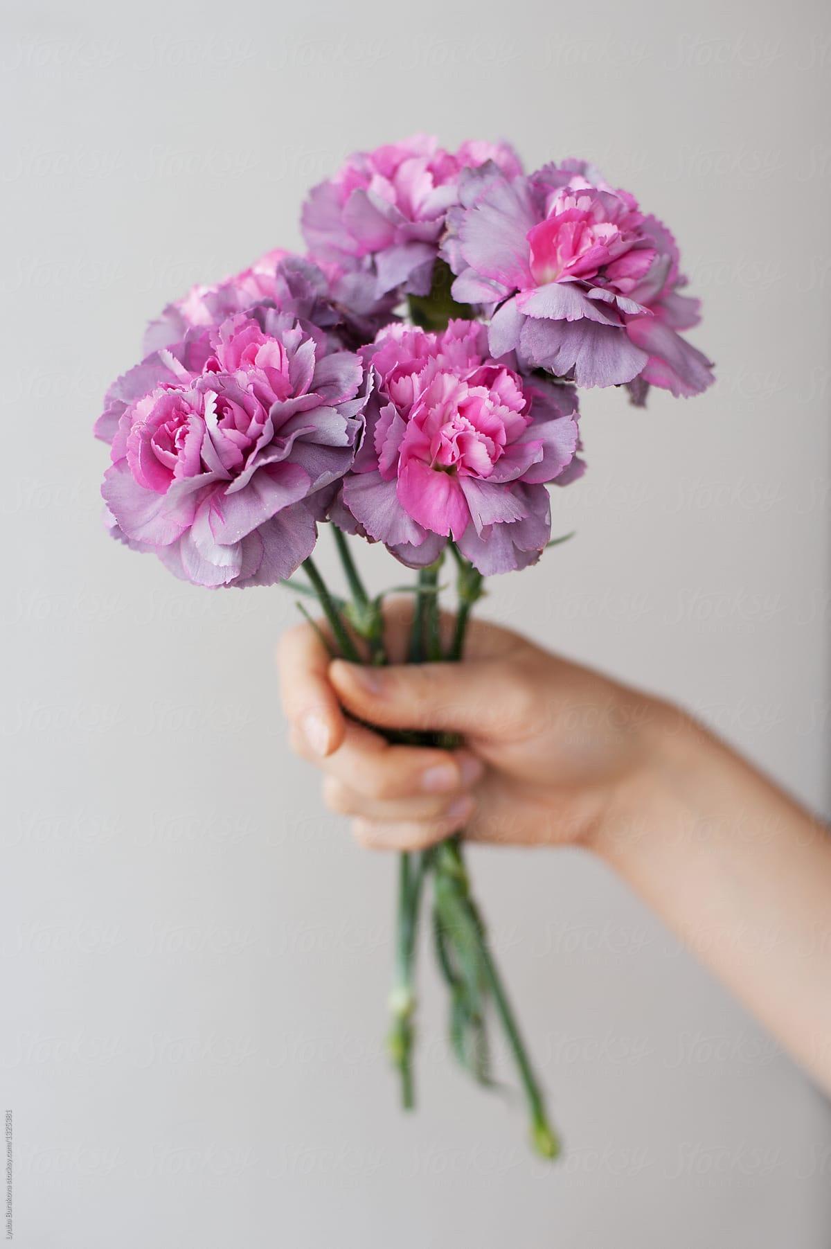 Woman holding bunch of pink flowers stocksy united woman holding bunch of pink flowers by lyuba burakova for stocksy united mightylinksfo