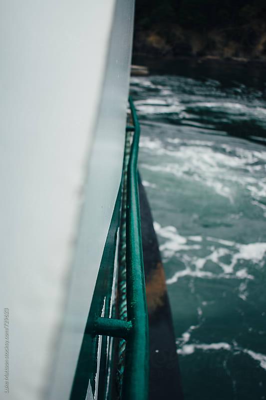 Rail On Side Of Ferry Boat On Ocean Water by Luke Mattson for Stocksy United