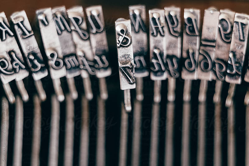 Closeup of Typewriter Hammers by Geoffrey Hammond for Stocksy United