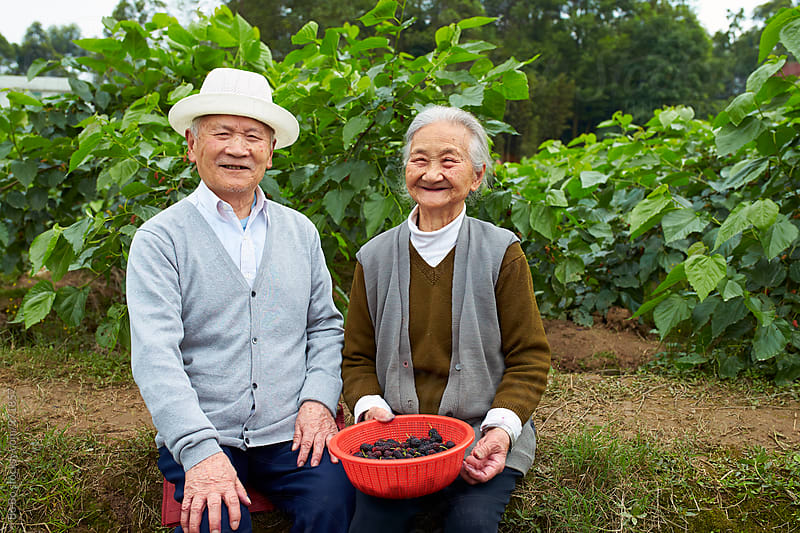 happy senior asian couple outdoor by Bo Bo for Stocksy United