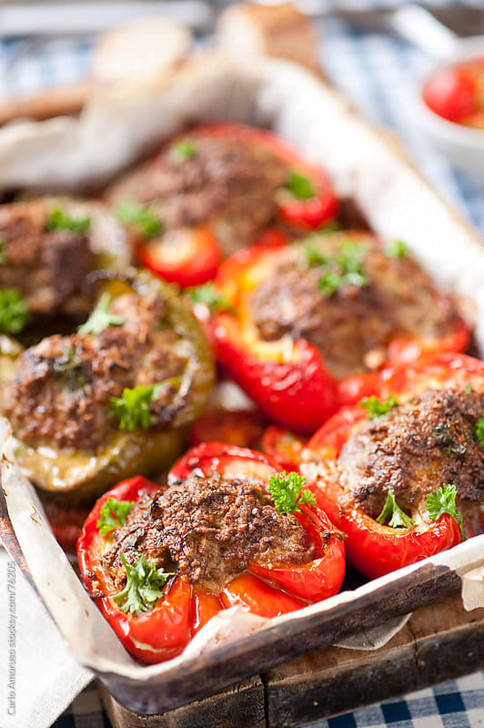 Red pepper stuffed with mince meat. by Carlo Amoruso for Stocksy United