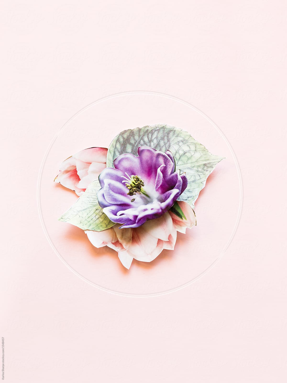 Bouquet Of Paper Flowers In Pinks And Purples On A Pink Background