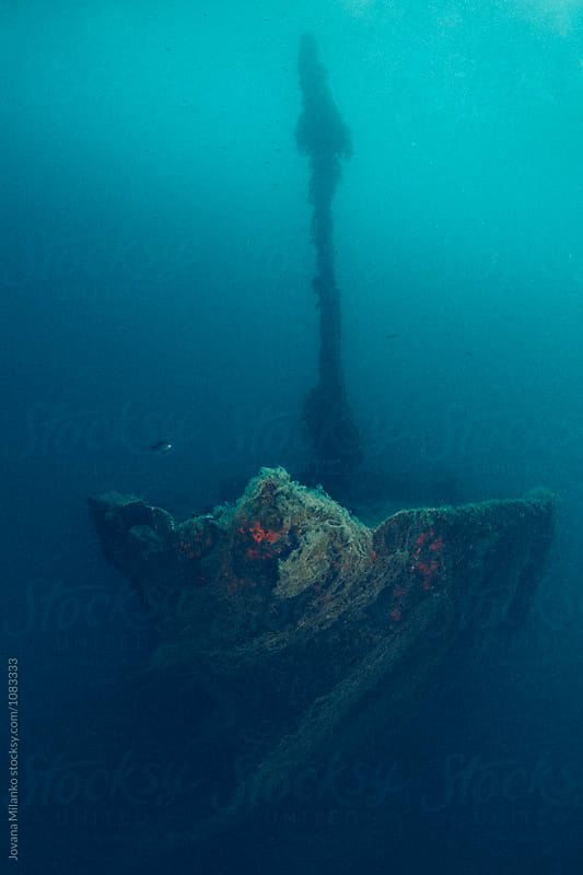 Entire shipwreck deep at the sea floor covered in fishing net by Jovana Milanko for Stocksy United