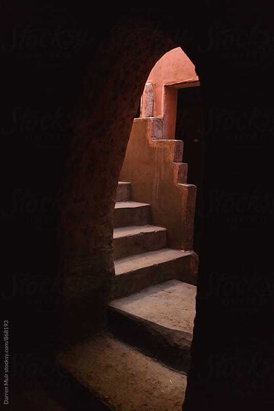 Old stone stairway in a traditional berber home. by Darren Muir for Stocksy United