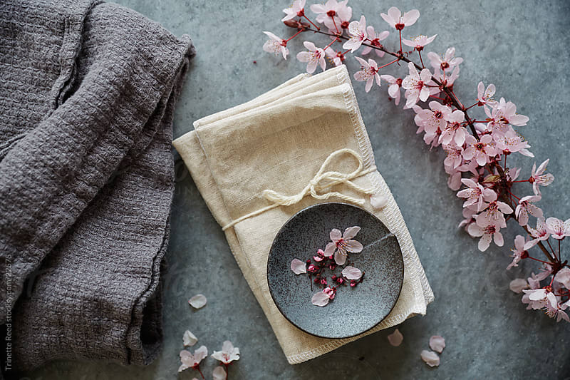 Cherry Blossom flowers and linen fabric by Trinette Reed for Stocksy United